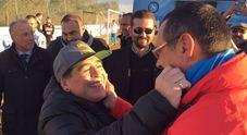 Maradona arriva a Castel Volturno per l'allenamento del Napoli