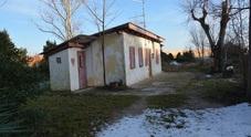 Una delle casette della vecchia Lignano fotografata con la neve di quest'inverno