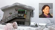 Neve e terremoto ad Acquasanta. Nel riquadro Emanuele Tondi