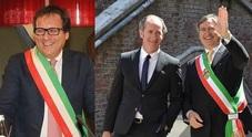 Giovanni Manildo, sindaco di Treviso, e a fianco Luca Zaia e Luigi Brugnaro
