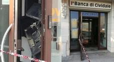 Il bancomat fatto esplodere nella notte a Mortegliano nella Banca di Cividale