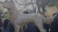 Roma, ecco la statua del cane Angelo: «Vittima indifesa della crudeltà»