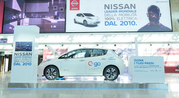 La Nissan Leaf all'aeroporto di Fiumicino