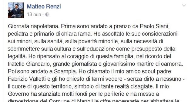 Renzi su Fb: colpito dal coraggio  della famiglia Siani