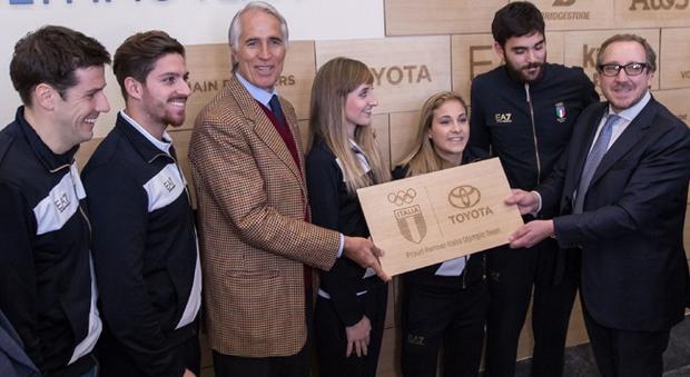 Il presidente del Coni Giovanni Malagò (a sinistra) e Andrea Carlucci ad di Toyota Motor Italia