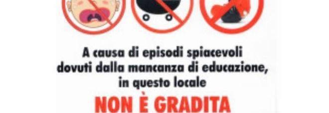 """""""Vietato l'ingresso ai bambini"""": cartello choc all'ingresso del ristorante romano -Guarda"""