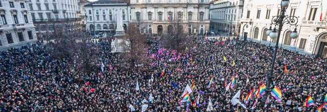 Roma, la manifestazione per le unioni civili al Pantheon (Foto di cecilia Fabiano - Toiati)
