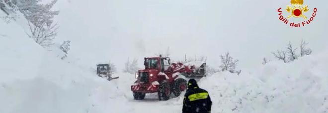 La neve caduta sulle aree terremotate (Centro documentazione vigili del fuoco)