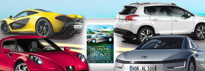 La rossa Alfa 4C, la gialla McLaren P1, la grigia Volkswagen XL1 e la bianca Peugeot 2008