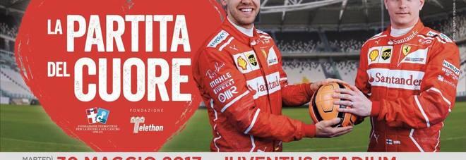 Partita del Cuore, i piloti contro la nazionale cantanti: il poster con Vettel e Raikkonen