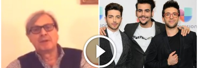 Vittorio Sgarbi (Facebook) e Il Volo (Ansa)