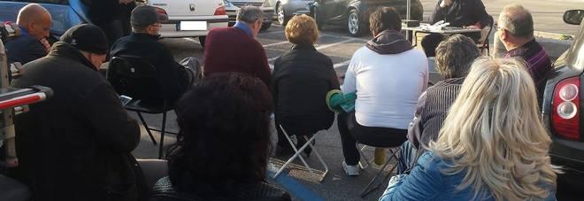 Un momento della conferenza stampa  in piazza VI Dicembre
