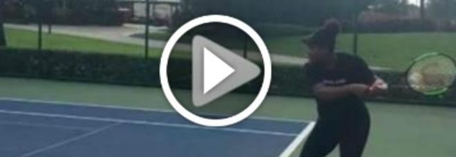Serena Williams, in campo con il pancione: il video fa impazzire i fan