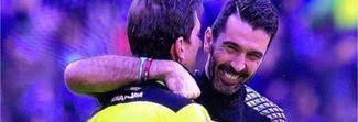 Buffon abbraccia Tagliavento: putiferio sul web