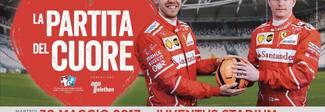 Partita del Cuore, i piloti contro la nazionale cantanti: il poster con Vettel e Raikkonen -Guarda