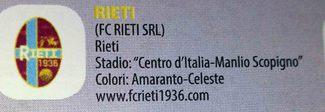 Lo stemma del Fc Rieti nell'album dei calciatori Panini: il sogno del club di tornare ad avere la figurina
