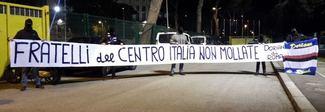 Terremoto, striscione di solidarietà dei tifosi doriani vietato all'Olimpico -Foto