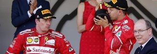 Montecarlo, la Ferrari trionfa: magica doppietta Vettel-Raikkonen