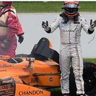 Il momento della rottura del motore per Fernando Alonso