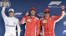 La Ferrari di Vettel parte in pole davanti a Bottas e Raikkonen. Hamilton resta a piedi