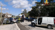 Una scena dell'incidente di oggi a Sossano