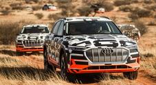 Audi e-tron, il rombo dell'aria nel test del deserto africano dove anche la polvere diventa musica