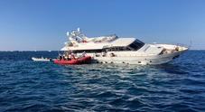 (Lo yacht abbandonato, foto Il Messaggero)