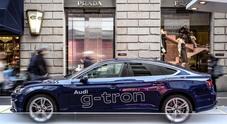 Audi g-tron in Via Montenapoleone: una famiglia green sempre più premium