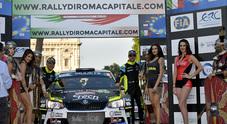 Basso (Skoda Fabia R5) vince il 7° Rally Roma Capitale. Alle sue spalle la Ford Fiesta R5 di Campedelli