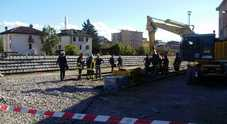 L'area della stazione di Belluno con il carrello dov'è avvenuta l'esplosione