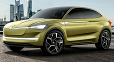 Skoda Vision E, nuovo look e 500 km di autonomia per il concept del Suv elettrico e autonomo