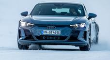 Audi RS e-tron GT, la più potente alla prova sul lago ghiacciato