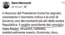 Gaffe di Sara Marcozzi: «Conte miglior premier dopo Pertini». Poi corregge il post