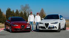 Alfa Romeo, full immersion per Raikkonen e Giovinazzi con i modelli di serie del Biscione