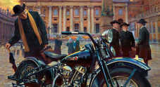 """""""Incontro casuale"""", cartolina opera d'arte: un sacerdote affascinato dalla mitica Harley Davidson"""