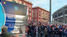 Napoli-Arsenal, l'arrivo degli azzurri allo stadio