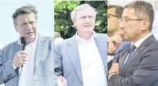 Il deputato leghista Sergio Vallotto, il sindaco Luigi Brugnaro e il vicepresidente della Regione Gianluca Forcolin