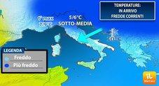Meteo, nel weekend arriva l'inverno «Fino a 5-6 gradi in meno»