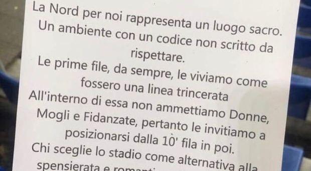 Niente donne in Curva Nord: tifosi Lazio creano una
