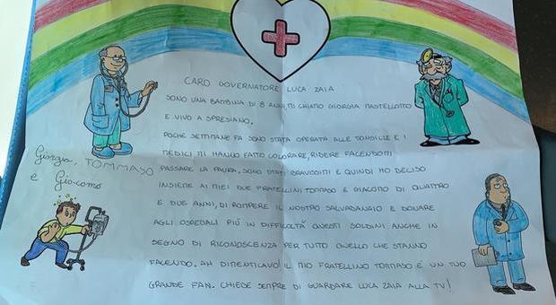 Coronavirus, tre fratellini di 2, 4 e 8 anni donano 375 euro agli ospedali con una lettera a Zaia: «Abbiamo rotto il salvadanaio»