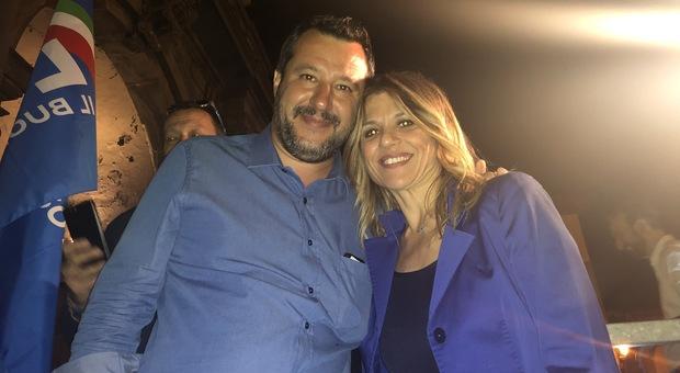 Matteo Salvini e la candidata sindaco del centrodestra Roberta Tardani
