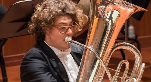 Matteo Magli, tuba dell'Orchestra Sinfonica della Rai