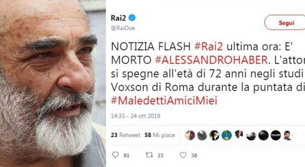 «È morto Alessandro Haber», il tweet di Rai2 per Maledetti amici miei scatena la polemica sui social