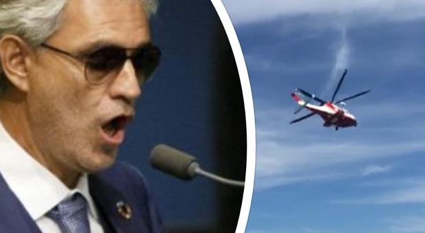 Andrea Bocelli, atterraggio d'emergenza in elicottero verso Milano