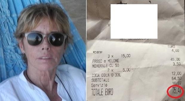 Paola Comencini: «Conto da 75 euro in un bar romano, covo di ladri». E mostra lo scontrino