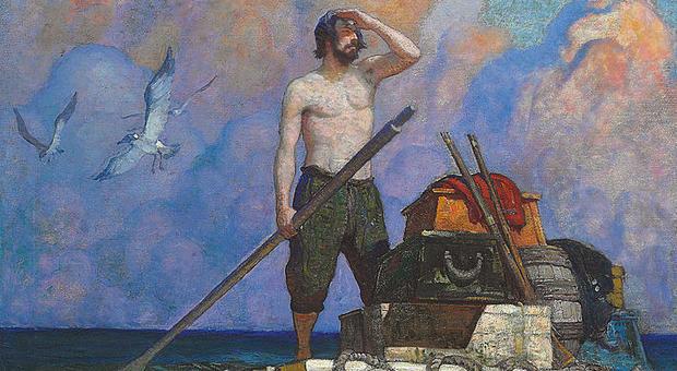 Robinson Crusoe dipinto da Newell Convers Wyeth