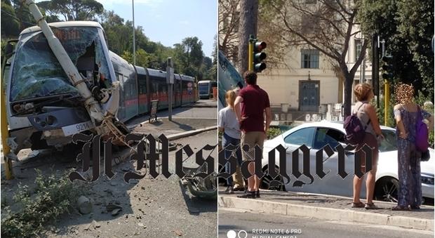 Tram esce dalle rotaie e si schianta contro un palo a piazzale Flaminio