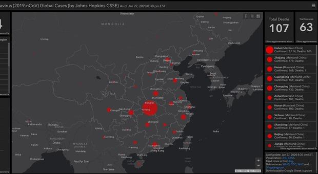 Coronavirus, ecco la mappa che mostra in tempo reale la diffusione dell'epidemia
