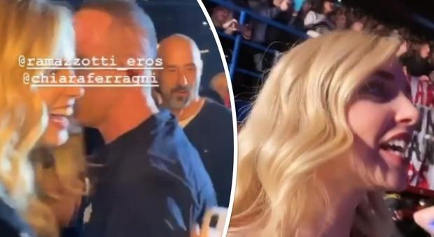 Chiara Ferragni al concerto di Eros Ramazzotti, lui canta Un'emozione per sempre e scende ad abbracciarla