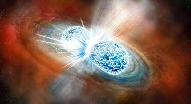 Una visione artistica della fusione di due stelle di neutroni